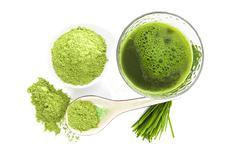 healthy living. spirulina, chlorella and wheatgrass. - stock photo