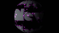 Happy New Year pre-keyed production element sphere font and fx variation 2 - stock footage