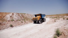 Production useful minerals. the dump truck at mining coal - stock footage