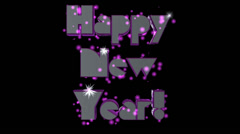 Happy New Year pre-keyed production element font and fx variation 7 - stock footage