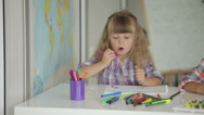 Stock Video Footage of Two little girls drawing with colored pencils at drawing class and smiling
