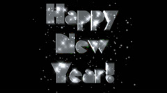Happy New Year pre-keyed production element font and fx variation 4 - stock footage