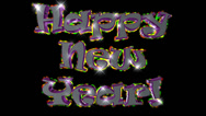 Happy New Year pre-keyed production element font and fx variation 3 Stock Footage