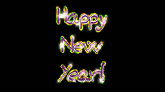 Happy New Year pre-keyed production element font and fx variation 1 - stock footage