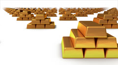 Endless Gold bars front view loop Stock Footage