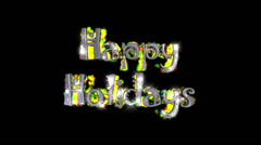 Happy Holidays pre-keyed production element font and fx variation 6 - stock footage