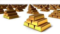 Sweeping across endless Gold bars front Stock Footage