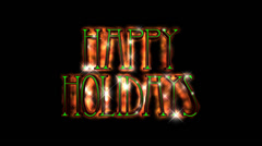 Happy Holidays pre-keyed production element font and fx variation 3 - stock footage