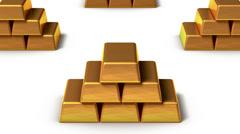 Endless Gold bars vertigo effect Stock Footage