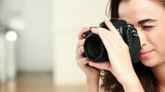 Photographer woman taking photographs dslr Stock Footage