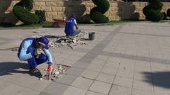Constructing the 'Bulvar' in Baku, Azerbaijan Stock Footage