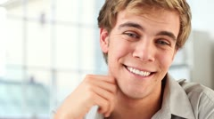 happy man portrait smiling - stock footage