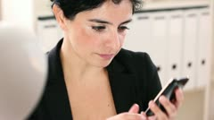businesswoman talking cell phone mobile - stock footage