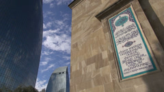 Mosque and 'Flame towers', in Baku Stock Footage