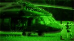 Blackhawk Helicopter and Soldier in night vision Stock Footage