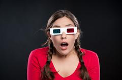 Teenage girl watching 3d Movie Stock Photos