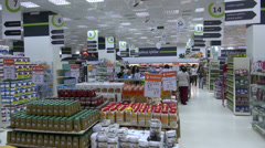 Modern supermarket in Baku Stock Footage