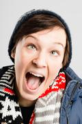 Stock Photo of funny woman portrait real people high definition grey background