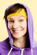 funny woman portrait real people high definition yellow background - stock photo