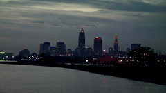 Downtown Cleveland from Lake during Sunrise Stock Footage