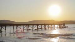 Sunset Sea Hills Pier Holiday Pieceful Concept HD Stock Footage