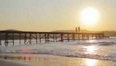 Love Concept Couple at Sunset Walking Pier Beach Holiday HD Stock Footage