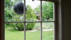 Pane glass window break Stock Footage