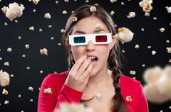 3d cinema experience - stock photo