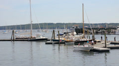Boats docked in a busy harbor, Maine - stock footage