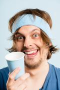 funny man portrait real people high definition blue background - stock photo