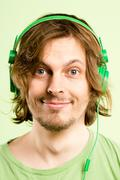happy man portrait real people high definition green background - stock photo