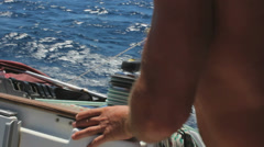 Using the Sail Boat Winch, Closeup Stock Footage