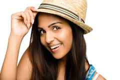 Closeup pretty indian woman smiling on white background Stock Photos