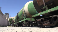 Oil train Baku Azerbaijan petrol transport wheels storage gas Stock Footage