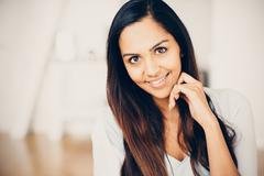 Beautiful indian woman portrait happy smiling Stock Photos