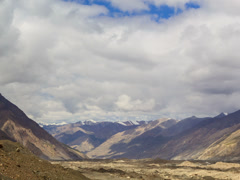 Clouds over glacier Inylchek. Kirgystan, central Tien Shan. 4x3 Stock Footage