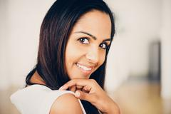 beautiful indian woman portrait happy smiling - stock photo