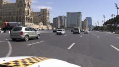 Driving taxi across Baku boulevard Stock Footage