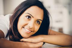 Pretty Indian woman smiling Stock Photos
