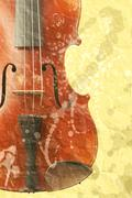grunge music background with old fiddle - stock photo