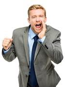 attractive young businessman man shouting - isolated on white background - stock photo