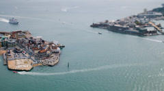 Tilt/shift time-lapse of ferries in Portsmouth harbour Stock Footage