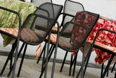 garden chairs and tables - stock photo