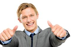 happy businessman thumbs up isolated on white background - stock photo
