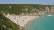 Stock Video Footage of Porthcurno beach from above.