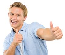 happy young man thumbs up isolated on white background - stock photo