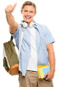 Successful college student back to school thumbs up isolated on white backgro Stock Photos