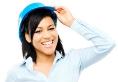 happy mixed race business woman architect holding blue print isolated on whit - stock photo