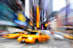 Blurry taxi new york Stock Photos