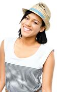 beautiful mixed race woman smiling isolated on white background - stock photo